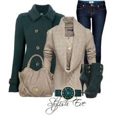 Beige and Green   Jeans and Booties   Fabulous Booties, Sweaters and Jacket