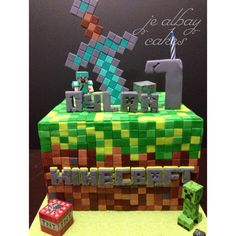Minecraft cake with diamond sword Twin Birthday Cakes, Birthday Cakes For Teens, Party Favors For Kids Birthday, Cupcake Birthday Cake, Boy Birthday Parties, Minecraft Cookies, Minecraft Birthday Cake, Minecraft Cake, Minecraft Party Decorations