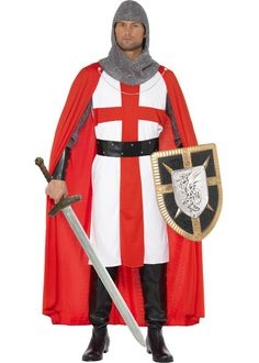 Embrace your patriotic side with the St George Hero Costume. This male fancy dress costume includes a headpiece, cuffs, top with cape belt. This male patriotic fancy dress costume is perfect wear for St Georges Day. Hero Costumes, Adult Costumes, Halloween Costumes, Halloween Party, Female Costumes, St Georges Day, Saint Georges, Fancy Dress Accessories, Costume Accessories
