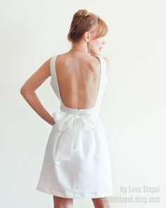 Low Back White Linen Dress with Pockets $189,00 on Etsy