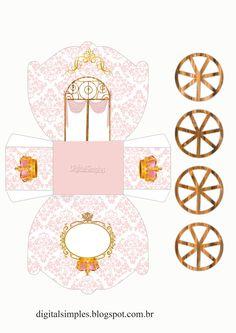 Corona en Dorado y Rosa: Caja con forma de Carruaje para Imprimir Gratis.