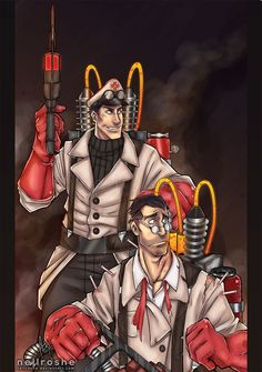 - Medics by nellroshe on DeviantArt Team Fortress 2 Medic, Team Fortess 2, Retriever Puppy, Deviantart, Overwatch, Hot Guys, Video Games, Medical, Fan Art