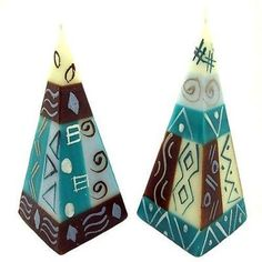 Set of Two Hand-Painted Pyramid Candles - Maji Design Handmade and Fair Trade. This set of two colorful pyramid shaped candles are hand-painted by artisans in South Africa. Each candle is 2 inches square at the base, and approximately inches tall. Blue Candles, Candle Lanterns, Gel Candles, Candle Art, Living Room Candles, Romantic Candles, Unique Candles, Selling On Pinterest, Handmade Candles
