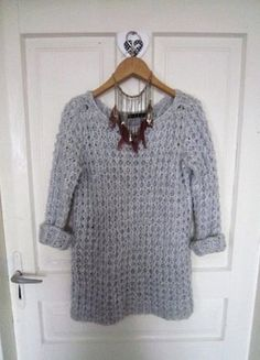 Ciepły szary sweter melanż M 38