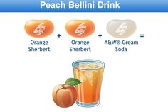 Peach Bellini Drink Jelly Belly Flavor Recipe Peach Bellini, Bean Recipes, Candy Recipes, Jelly Belly Flavors, Combo Recipe, Belly Belly, Ice Cream Cookies, Bulk Candy