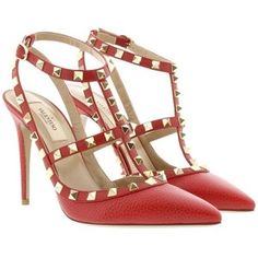 Valentino Pumps - Rockstud Ankle Strap Pump Rosso - in red - Pumps for ladies