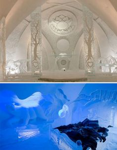 "Intricate Ice Architecture: 17 Fantastic Frozen Buildings The only true ice hotel in North America, Hotel de Glace opens each January with a new theme. In early 2013, that theme was ""A Journey to the Center of Winter,"" inspired by the Jules Verne novel ""Journey to the Center of the Earth."" It had 44 guest rooms as well as a spa, restaurant, chapel and a bar made of ice."