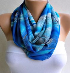 Peacock  Infinity Scarf Shawl Circle Scarf Loop Scarf   by anils, $19.50
