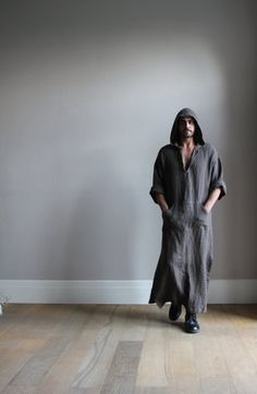 ffcdbbf9d6 Winter mens hooded pure linen caftan. Stone brown by YUMEworld Stylish Mens  Outfits