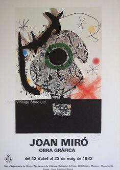 Joan Miró Original Artist Poster 1982 – Art & Vintage Store Ltd Art Vintage, Vintage Posters, Vintage Prints, Museum Poster, Creative Poster Design, Poster Design Inspiration, Spanish Artists, Exhibition Poster, Fine Art Prints