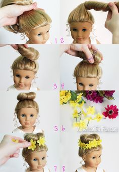 American Girl Fan Hairstyle: Bun + Flower Crown
