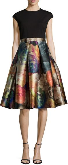 Ted Baker London Eana Cap-Sleeve Fit-&-Flare Dress, Black