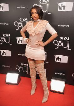Jennifer Hudson wearing thigh-High Boots.