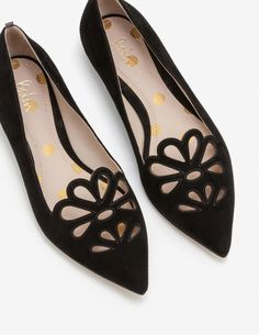 Boden Eloise Suede Cut Out Pointed Toe Flats Black Wedge Shoes, Shoes Heels, Slingback Flats, Studded Heels, Pointed Toe Flats, Beautiful Shoes, Me Too Shoes, Shoe Boots, Fashion Looks