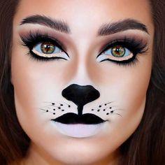 Schnelles Makeup Halloween Frau Schwarze Katze Karneval