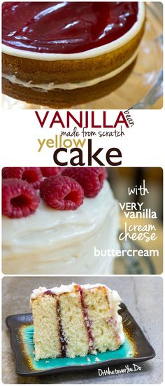 Vanilla Bean Yellow Cake - from scratch! Filled with a raspberry filling and iced with a vanilla cream cheese buttercream. Frosting Recipes, Cupcake Recipes, Baking Recipes, Cupcake Cakes, Dessert Recipes, Cupcakes, Food Cakes, Just Desserts, Delicious Desserts