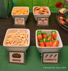 Fun snacks at a Minecraft Birthday Party!  See more party ideas at CatchMyParty.com!