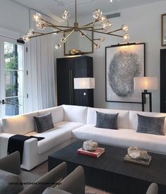44 Fascinating Black Living Room Designs Ideas That Never Go Out Of Fashion Home Decoration Remodelling Ideas / / 44 Fascinating Black Living Room Designs Ideas That Never Go Out Of FashionFascinating Black Livi Luxury Living Room, Apartment Interior, Apartment Interior Design, Black And White Living Room, Apartment Living Room, Modern Apartment Decor, White Interior, White Interior Design, Home Interior Design