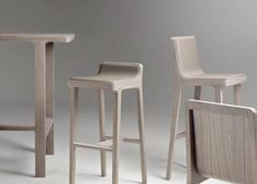 The Emea Stool Collection has a variety of seatings available. Designed by Jean Louis Iratzoki, the seats can be ordered in wood, fabric, leather or eco leather