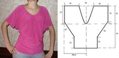 Proposta de hoje recaiu nesta blusa de fácil corte e costura. Faça o desenho que mostra a figura em papel para poder cortar o tecido com a máxima confiança.
