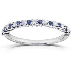 "<li>Round-cut blue sapphire and diamond band</li> <li>14-karat white gold jewelry</li> <li> <a href=""http://www.overstock.com/downloads/pdf/2010_RingSizing.pdf""><span class=""links"">Click here for ring sizing guide</span></a></li>"