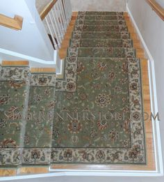 Persian Jewel Stair Runner with Custom Continuous Single Landing Installation