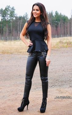 Black peplum top & leather pants