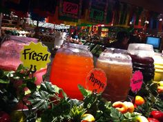Aguas frescas at Ranch Market in Phoenix.