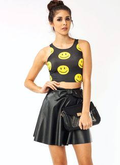 smiley face cropped top