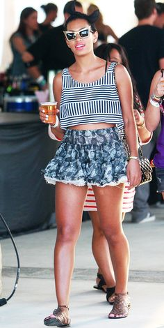 Solange Knowles wearing mixed prints and sandals