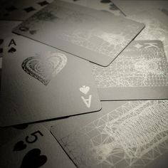 Dark and stylish (if a little difficult to discern) these Black Playing Cards feature intricate, geometric designs and offer an attractive alternative to your average deck.