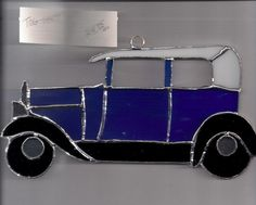 Stained Glass BLUE CAR  OLD STYLE NEW Sun Catcher