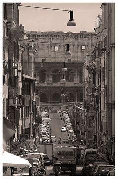 Colosseum view from via dei serpenti - Rome, Italy (old picture)