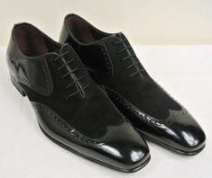 Handmade Mens formal shoes, Men Black wing tip suede and leather dress shoes - Dress/Formal