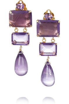 Bounkit|24-karat gold-plated amethyst clip earrings|NET-A-PORTER.COM