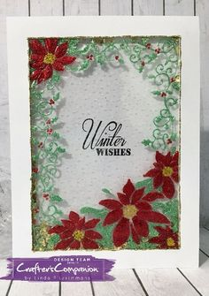 Shaker card made with Crafter's Companion 3D embossing folder - Pretty Poinsettia. Designed by Linda Fitzsimmons #crafterscompanion