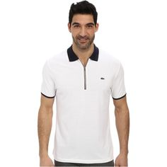 Lacoste Pique Pima Stretch Slim Fit Polo with Zipper Placket... ($81) ❤ liked on Polyvore featuring men's fashion, men's clothing, men's shirts, men's polos, white, mens white long sleeve shirt, mens pullover, mens french cuff shirts, mens long sleeve shirts and mens white polo shirt