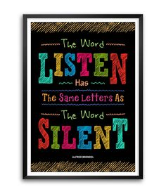 "Amazon.com: Listen Same Letters As The Word Silent Alfred Brendel Quotes Framed Poster Size A3 (16.5"" x 11.7""): Posters & Prints"