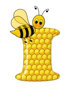 Alphabet letters bee on honeycomb. Scrapbook Letters, Bee Pictures, Cartoon Clip, Spelling Bee, Bee Party, Bee Crafts, Bee Theme, Alphabet And Numbers, Alphabet Letters