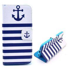 Anker blauwe strepen booktype hoes voor iPhone 6 Plus