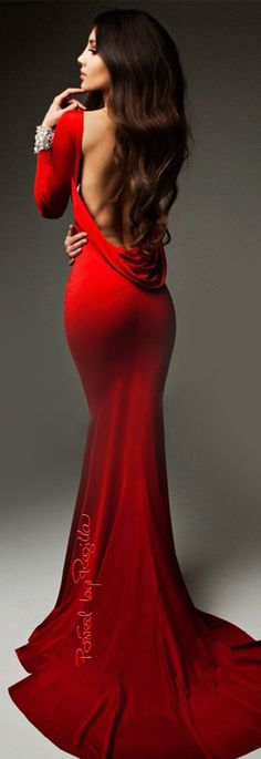Backless red dress.