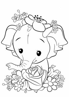 Free & Easy To Print Elephant Coloring Pages - Tulamama Pokemon Coloring Pages, Disney Coloring Pages, Coloring Pages For Kids, Kids Coloring, Printable Flower Coloring Pages, Elephant Coloring Page, Elephant Colour, Paisley, Mandala