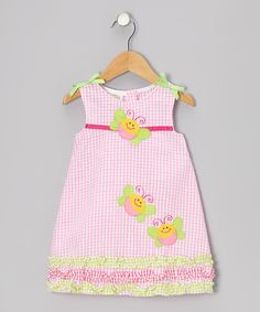 Look at this Sweet & Soft Pink Gingham Ruffle Butterfly Seersucker Dress - Toddler on #zulily today!