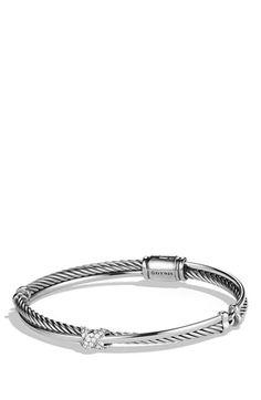David Yurman Petite 'X' Crossover Bracelet with Diamonds available at #Nordstrom