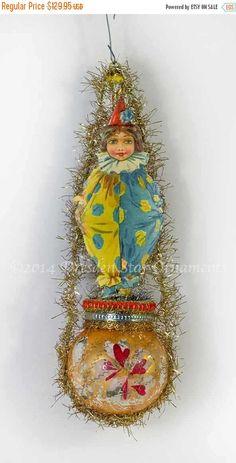 Sale 25% Off Child Clown on Antique Orange by DresdenStarOrnaments