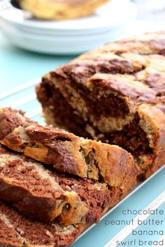 Chocolate Peanut Butter Banana Swirl Bread