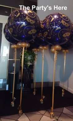 Giant 3 Foot Balloons for a Masquerade themed corporate event. Masquerade Ball Decorations, Masquerade Ball Party, Sweet 16 Masquerade, Masquerade Centerpieces, Masquerade Theme, Venetian Masquerade, Balloon Centerpieces, Balloon Decorations, Quinceanera Centerpieces