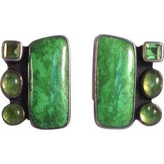 Amy Kahn Russel Green Stone Earrings Sterling from antiquesofriveroaks on Ruby Lane