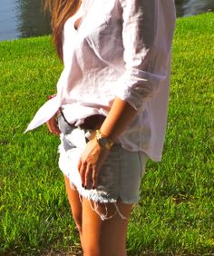 #Gladiator post #AmericanEagle skirt #Target shirt #WhiteButtondown #Gladiators #AmericanEagle #Bebe shoes #Americaneagle #denimskirt #fashionblogger #blogger #Micaelkors watch #Forever21 bracelet