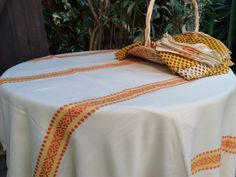www.sophieladydeparis.etsy.com Vintage off white #tablecloth and 10 Matching Napkins with Original orange Braids. Woolly aspect.Woven #Dralon made.  Dralon was a new polyacry... #antiquelinens #victorian #frenchlinens #sophieladydeparis #damask